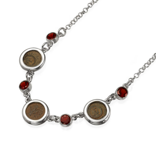 Roman Maccabean Coin Garnet Necklace - Baltinester Jewelry
