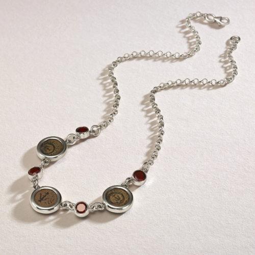 Roman Maccabean Coin Garnet Necklace 2 - Baltinester Jewelry
