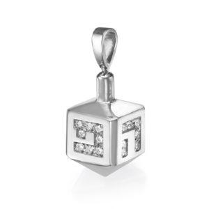 14K White Gold Diamond Hannukah Dreidel Pendant - Baltinester Jewelry