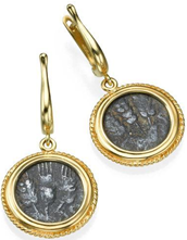 Gold dangling earrings imbued with ancient roman coins in the time of King Agrippa.