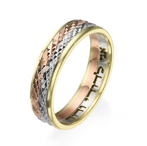 tricolored gold wedding band