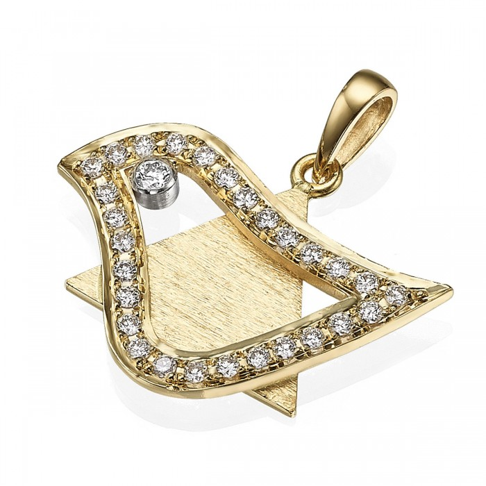 18k Gold Diamond Dove of Peace Magen David Pendant