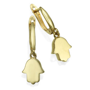 Yellow gold Hamsa earrings