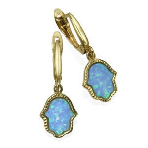 Opal Hamsa Earrings