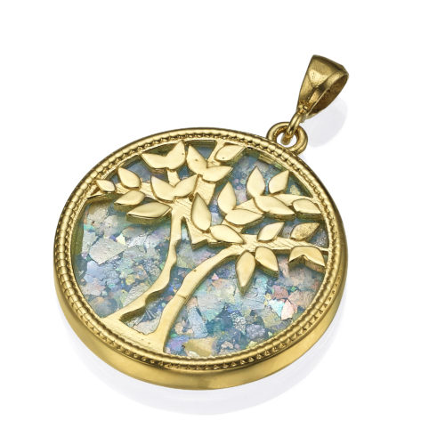 roman glass tree of life pendant