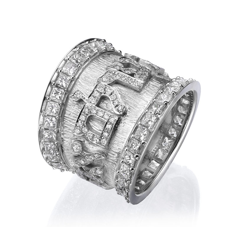 tapered white gold wedding band