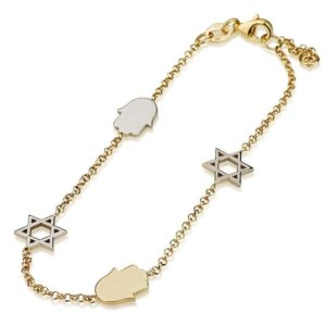 14K gold bracelet wuth Hamsa & Star of David