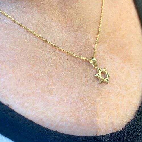 Shiny Domed 18k Gold Star of David Pendant - Baltinester Jewelry