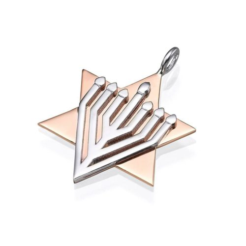 White and Rose Gold Menorah Star of David Pendant