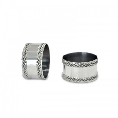 Personalized Silver Napkin Rings with Filigree Borders