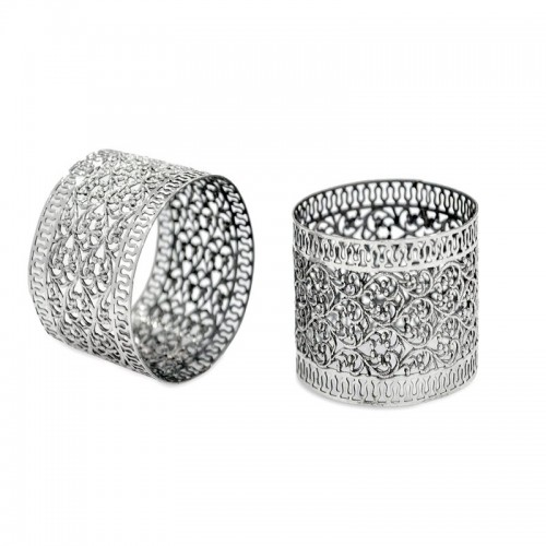 Personalized Silver Napkin Rings with Filigree