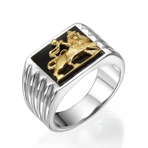 Silver & 14K Gold Onyx Lion of Judah Ring